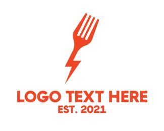 Electronic - Electric Fork Fast Food Restaurant logo design