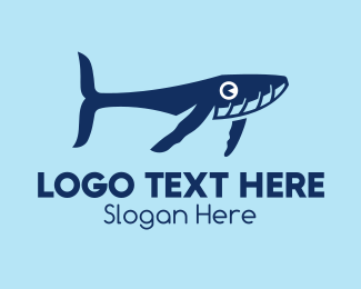Sperm Whale - Blue Whale Calf logo design