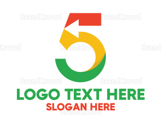 Fifth - Colorful Arrow Number 5 logo design