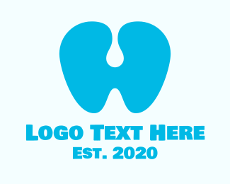 Mouth - Blue Dental Clinic Letter H logo design