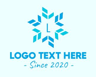 December - Blue Star Snowflake logo design