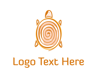 Golden - Spiral Turtle logo design
