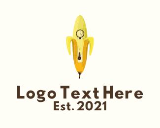 Clock - Banana Clock Tower logo design