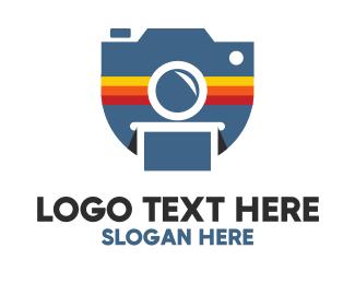 Instagram - Stripe Polaroid Camera logo design