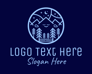 Tree - Night Forest Mountain logo design