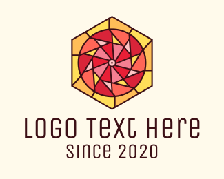 Wedding Photography  - Stained Glass Circle Hexagon logo design