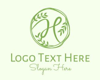 Twig - Green Herbal Letter H logo design
