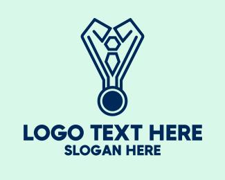 Winning - Modern Blue Medal  logo design