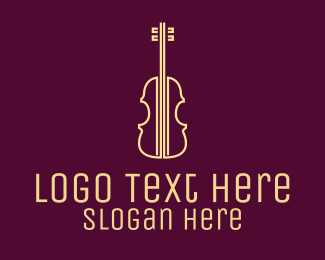 String Instrument - Yellow Violin Music School logo design