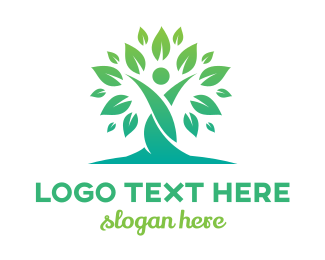 Support - Gradient Tree Twisted Person logo design