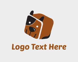 3d - Dog Box Cube logo design