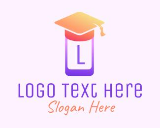 Mobile Phone - Mobile Phone Graduation Cap logo design