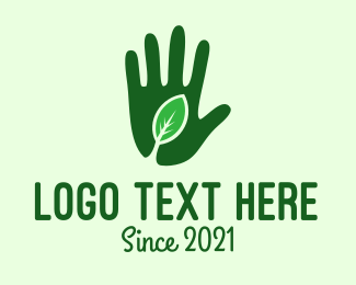 Tea Leaf - Green Hand Gardening logo design