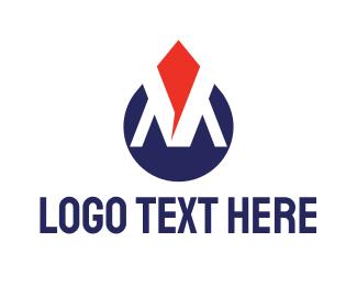 Refilling Station - Modern M Drop logo design