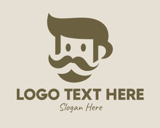 Trendy - Old Mustache Man  logo design