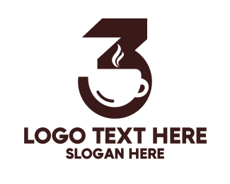 Third - Brown Number 3 Cafe logo design