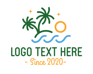 Spring Break - Tropical Beach Outline logo design