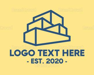 Decoration - Blue Stacked Box Outline logo design
