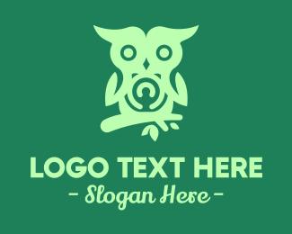 Forest Animal - Wild Owl Branch logo design