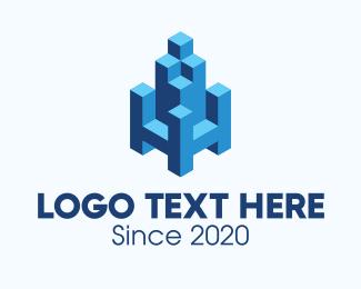 Staircase - 3D Blue Building HH logo design
