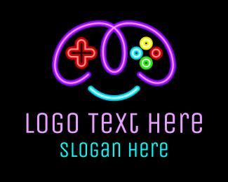Strategy - Neon Game Controller logo design