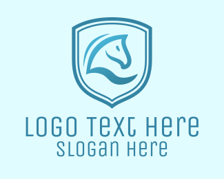 Equestrian - Blue Horse Shield logo design