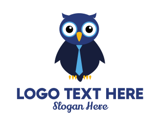 Interview - Cute Blue Owl logo design
