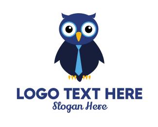Interview - Cute Blue Owl logo design