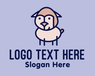 Sheep - Cute Smiling Sheep  logo design