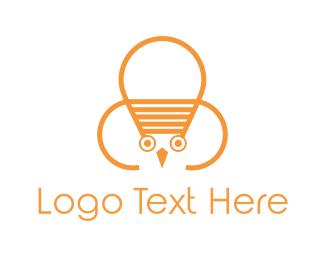 Birdie - Owl Lamp logo design