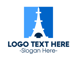 French - Blue Parisian Tower logo design