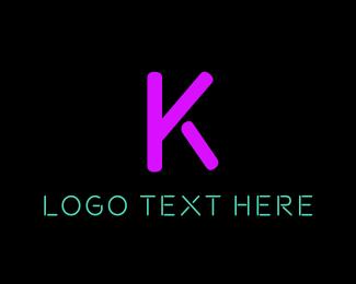 Purple And Yellow - Purple Neon Letter K logo design