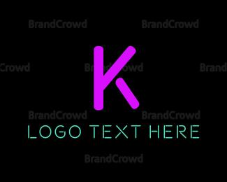 Letter K - Purple Neon Letter K logo design