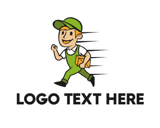 Fast - Delivery Man Cartoon logo design