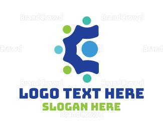 Crowd - Colorful Crowd C logo design