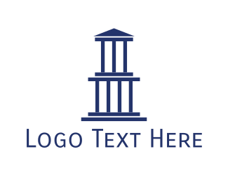 Pantheon - Blue Greek Building logo design