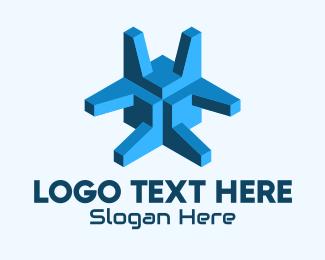 Online Game - Blue 3D Abstract Shape logo design