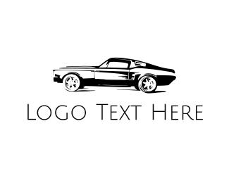 Limousine - Vintage Black Car logo design