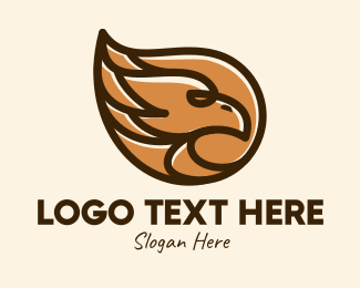 Wildlife Conservation - Brown Eagle Head  logo design