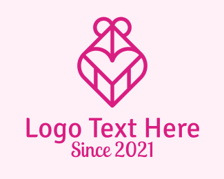 Gift Shop - Pink Heart Gift logo design