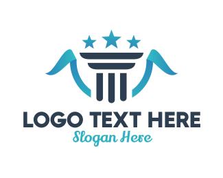 Star - Pillar Star Ribbon logo design