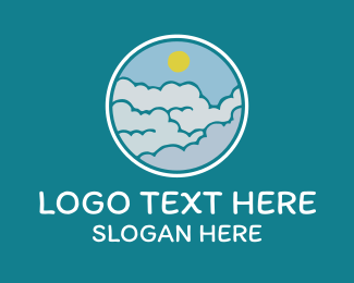 Sky - Cloudy Sky Badge logo design