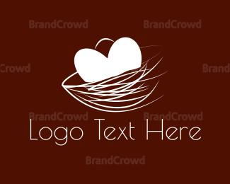 Egg - Heart Nest  logo design