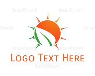 Sun - Sun Leaf logo design