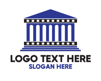 Temple - Blue Greek Temple logo design