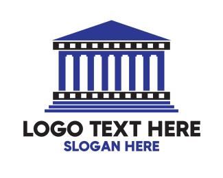 Temple - Blue Greek Temple logo design