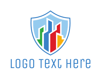 Law Enforcer - Colorful City Shield logo design