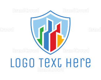 Business Center - Colorful City Shield logo design