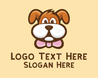 Dog Head - Cute Dog Cartoon logo design
