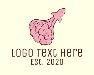Psychotherapy - Brain Rocket Launch logo design